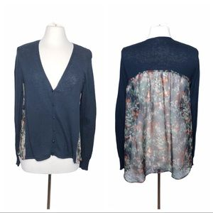 Anthropologie cardigan with sheer floral back